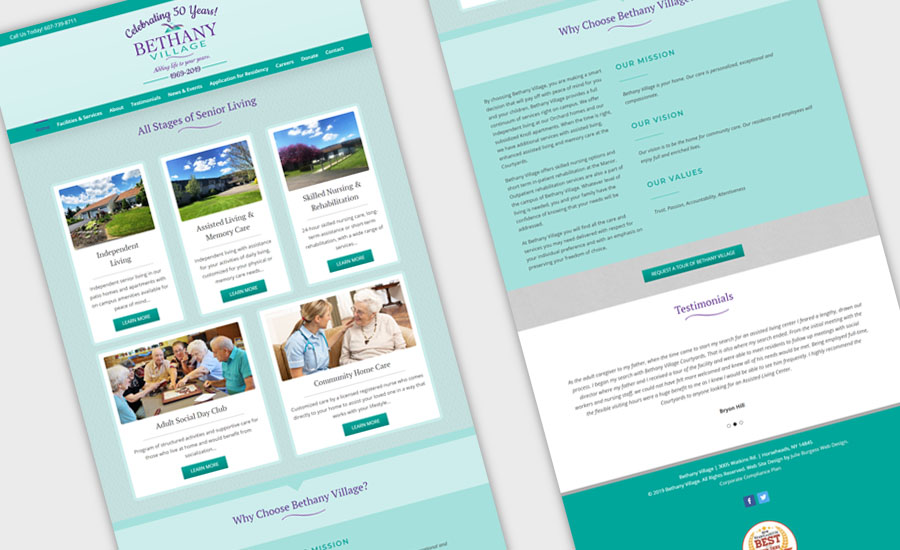 Recent Work by Julie Burgess Web Design - Bethany Village Web Site Design