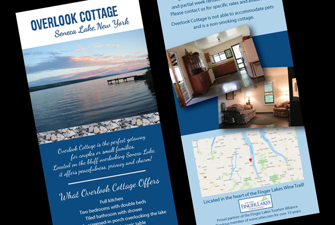 Rack Card Design for Overlook Cottage on Seneca Lake, NY